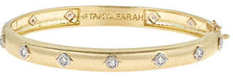 Farah Tanya Slim Modern Etruscan Bangle Bracelet with Diamonds