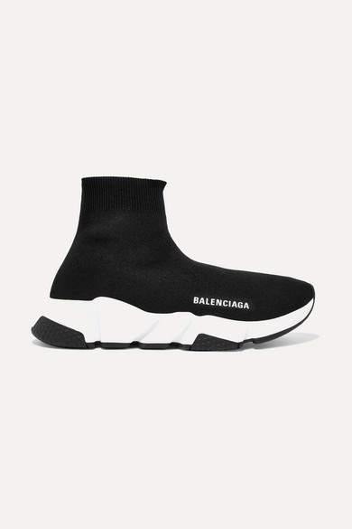 Balenciaga - Speed Logo-print Stretch-knit High-top Sneakers - Black