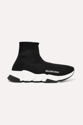 38c55a28ed85 Balenciaga Speed Logo-print Stretch-knit High-top Sneakers - Black