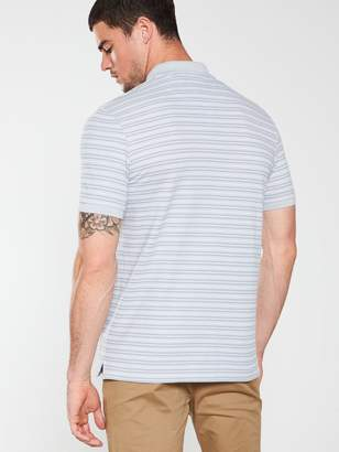 Fine Striped Polo Shirt - Silver Grey