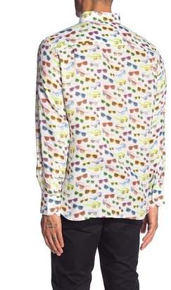 MICHAELS SWIMWEAR Printed Button Up Linen Shirt