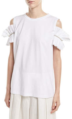 Brunello Cucinelli Crewneck Cold-Shoulder Cotton Tee with Poplin Ruffle