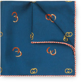 Gucci Printed Silk-Twill Pocket Square - Men - Navy