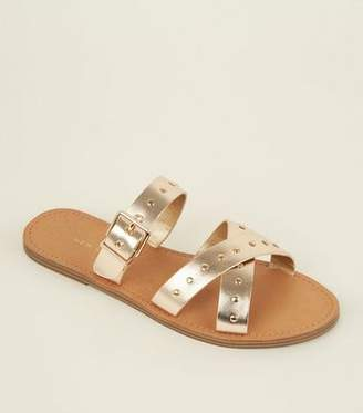 New Look Gold Studded Cross Strap Mules