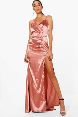 boohoo Boutique Satin Ruched Maxi Dress
