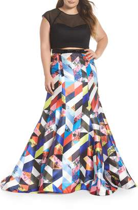 Mac Duggal Mesh & Print Two-Piece Gown
