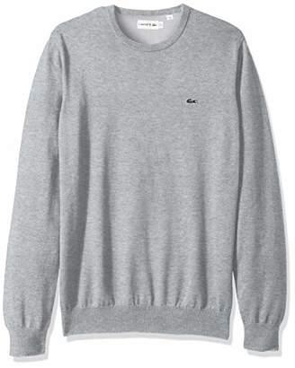 Lacoste Men's Long Sleeve Half Moon Crew Neck Jersey Sweater, Flour/Red, 4
