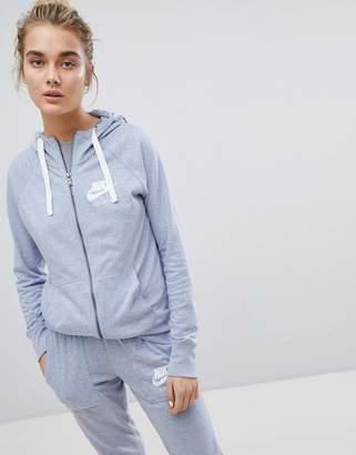 Nike Gym Vintage Full Zip Hoodie In Glacier Grey