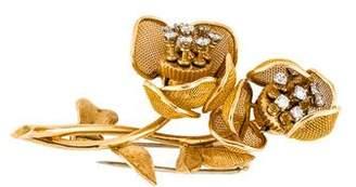18K Diamond Articulated Flower Brooch