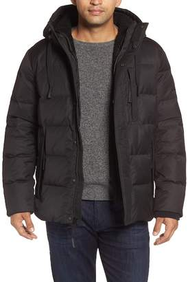 Andrew Marc Groton Slim Down Jacket w/ Faux Shearling Lining & Hoodie