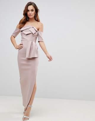 Asos Scuba Bardot Folded Bow Front Maxi Dress