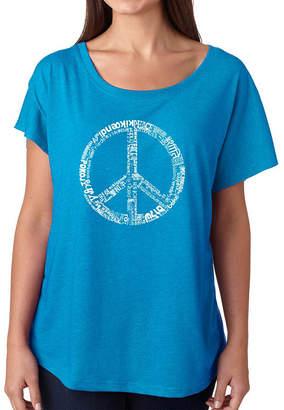 LOS ANGELES POP ART Los Angeles Pop Art Women's Loose Fit Dolman Cut Word Art Shirt - THE WORD PEACE IN 77 LANGUAGES
