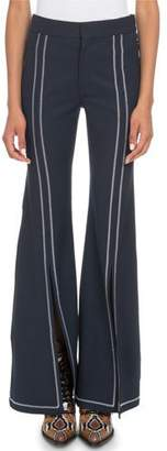 Chloé Topstitched Slit-Front Flared-Leg Stretch-Wool Pants