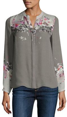 Elie Tahari Vivian Long-Sleeve Floral-Print Silk Blouse, Multi $298 thestylecure.com