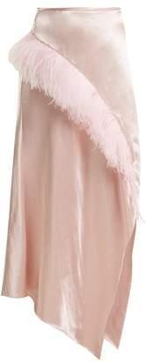 Marques'almeida - Asymmetric Hem Feather Embellished Satin Skirt - Womens - Pink
