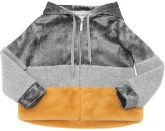 Simonetta Chenille & Faux Fur Sweatshirt