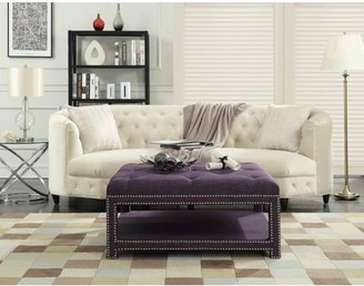 BEIGE Chic Home Micah Coffee Table Ottoman 2-Layer Polished Nailhead Tufted Linen Bench, Modern Transitional, Purple