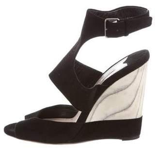 Miu Miu Suede Ankle Strap Wedges