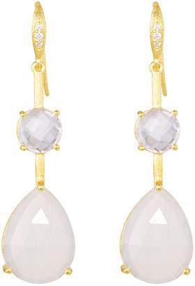 Indulgems Double Stone Drop Earrings, Pink