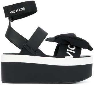 Vic Matié asymmetric bow platform sandals