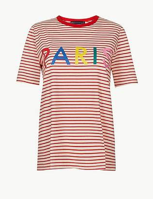 Marks and Spencer Pure Cotton Striped Paris Straight Fit T-Shirt