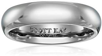 Triton Men's Scott Kay Cobalt Prime Grey Dome Band with Stone Design and Bright Finish Wedding Bands