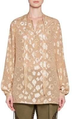 Saint Laurent Georgette Floral Button-Up Blouse