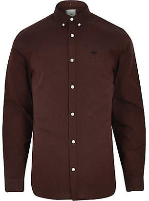 River Island Mens Dark Red wasp embroideRed Oxford shirt