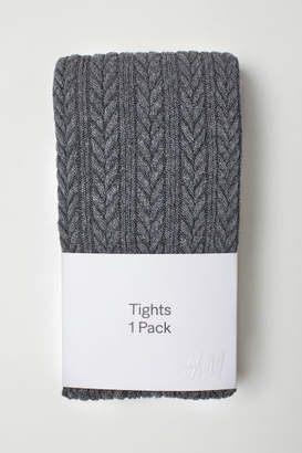 H&M Textured-knit Tights - Black