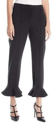 Valentino Ruffle-Hem Straight-Leg Stretch-Wool Ankle Pants