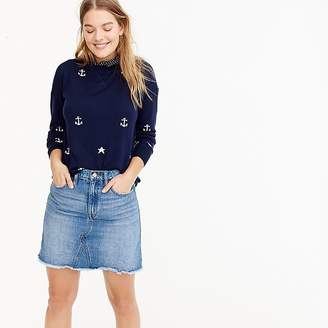 J.Crew Merino wool crewneck sweater in anchors and stars