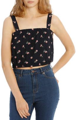 Miss Shop Hot Price Elastic Waist Top - Navy Base Spotted Bouquet Print