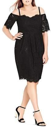 City Chic Plus Amour Off-the-Shoulder Lace Dress
