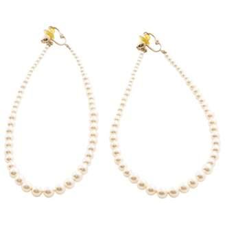 Chanel White Plastic Earrings