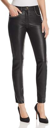 Moschino Studded Leather-Front Pants