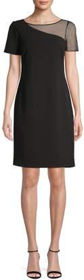 Karl Lagerfeld Paris Faux Pearl-Embellished Illusion Sheath Dress