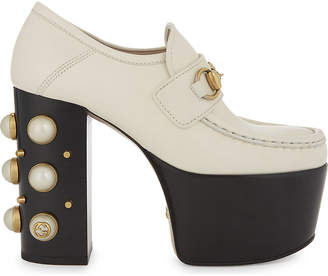 Gucci Vegas 125 Pearl leather high heeled loafers