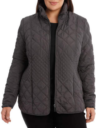 NEW Regatta Woman Basic Quilted Long Sleeve Jacket Charcoal