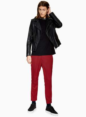 Topman Red Houndstooth Check Skinny Crop Trousers
