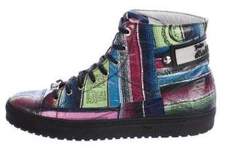 John Galliano Patent Leather Printed Sneakers
