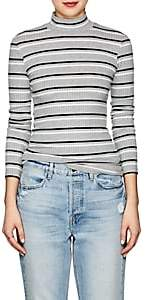 Frame Women's Striped Rib-Knit Mock-Turtleneck Top - Gray