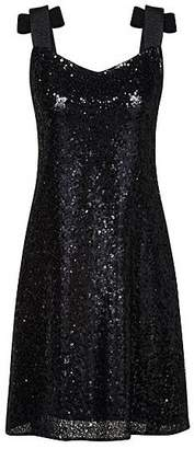 HUGO BOSS Regular-fit sequinned dress with bow-tie straps
