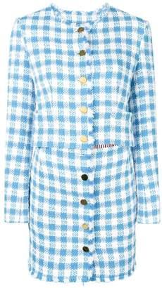 Thom Browne Silk Ribbon Gingham Cardigan Minidress