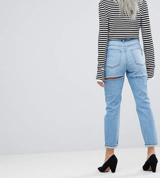Asos DESIGN Petite Farleigh high waist slim mom jeans in ariel light stone wash with bum rips