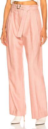 Sies Marjan Blanche Wool Pinstripe Wide Leg Pant in Lipstick   FWRD