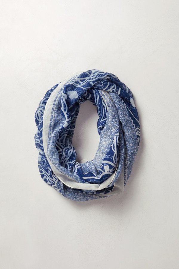 Anthropologie Blue Willow Infinity Scarf