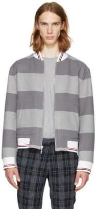 Thom Browne Reversible Grey Wool Rugby Stripe Bomber Jacket