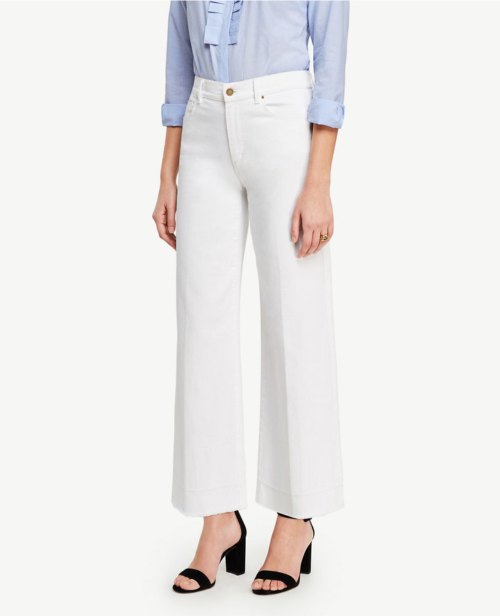Ann TaylorRaw Hem Wide Leg Crop Jeans