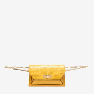 Bally Sofy Orange, Women's croc embossed calf leather bag in gold sand