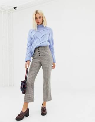 Miss Selfridge kickflare crop trousers in check